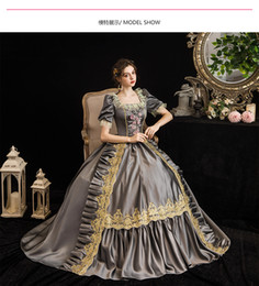 Renaissance faiRy costumes online shopping - 100 real silver grey lace flower princess queen fairy cosplay ball gown royal princess Medieval Renaissance Victorian dress Belle ball