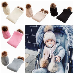 $enCountryForm.capitalKeyWord Australia - 2019 kids winter hat and scarf sets infant baby knitted beanies hats caps + fur pom poms scarves childrens wool crochet bonnets wholesale