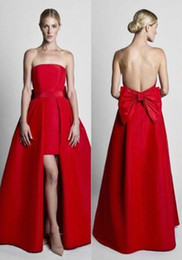 $enCountryForm.capitalKeyWord NZ - Red Jumpsuits Celebrity Dresses Evening Wear With Detachable Skirt Sweetheart Strapless Satin Guest Dress Prom Party Gowns FL0501