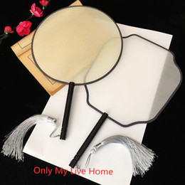 $enCountryForm.capitalKeyWord Australia - Traditional Craft Blank Chinese Mulberry Silk Fan Hand Painting Round White Hand Fans Adult DIY Embroidery Vintage Handle Fan