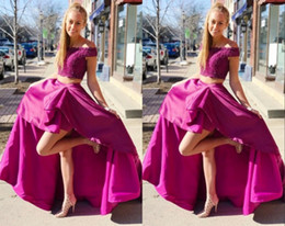 $enCountryForm.capitalKeyWord NZ - Hot Pink Two Pieces Hi Low Prom Dresses Evening Formal Gowns Off the shoulder with Sleeves Lace Applique Satin Pageant Party Celebrity Dress