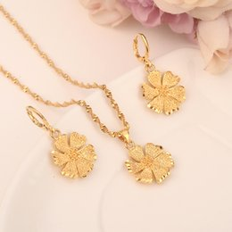 Diy copper earrings online shopping - 18 k Fine Solid gold GF Necklace Earring Set Women Party Gift flowemenr SUN Jewelry Sets daily wear mother DIY charms Sjolid