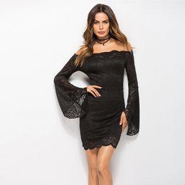 $enCountryForm.capitalKeyWord UK - Spring 2019 New Women's Dress Black Lace Horn Cuffs Collar Dress A Hair-bearing Dress
