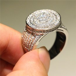 Micro Pave Wedding Ring NZ - Brand Jewelry 925 Silver Wedding Engagement Band Ring Micro Pave Simulated Diamond CZ Rings For Women Bride Promise Gift Size 5-10