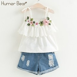 embroidery clothes designs 2019 - Humor Bear 2019 New Summer Fashion Style Girls Clothing Sets Embroidery Design T-shirt+ Jeans Children Clothes Kids Clot