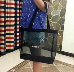 $enCountryForm.capitalKeyWord Australia - HOT!Classic white logo shopping mesh Bag luxury pattern Travel Bag Women Wash Bag Cosmetic Makeup Storage mesh Case