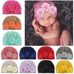 BaBy Bandanas crochet online shopping - Christmas kids designer hats infant toddle pearl flower knitted caps Headbands hat Bandanas baby girl hair accessories children turban cap