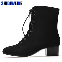 knee high tie up boots Canada - Lace up Cross-tie Motorcycle Boots High Heel Martin Boots Women Ankle Square heel Boots Women 2018 n282
