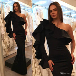 $enCountryForm.capitalKeyWord Australia - New Design Arabic Black Mermaid Prom Dresses One Shoulder Ruffles Long Sleeve Floor Length Tight Formal Evening Party Gowns Cheap Reveiws