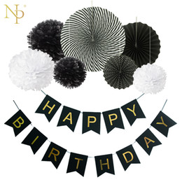paper fan flower decorations UK - Nicro 8Pcs DIY Black Birthday Banner Flower Paper Fan Set Tissue Hanging First Birthday Party Decoration Set Event Supplies