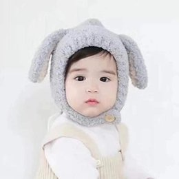 fluffy bunny ears UK - 2019 Baby Winter Fashion Lovely Bunny Ears Muffle Fluffy Hat Male and Female Baby Warm Wet Knitted Ear Protection Hat with Free Shipping