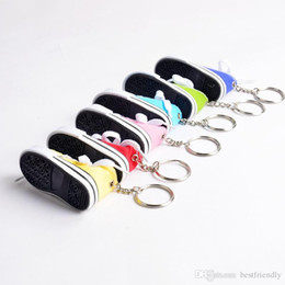 canvas shoe bags wholesale NZ - Mini Silicone Canvas Shoes Keychain Bag Charm Woman Men Kids Key Ring Key Holder Gift Sports Sneaker Key Chain Funny Gifts