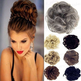 Wholesale New Synthetic Chignon Hair Hairpiece Curly Hair Scrunchie Women Fake Hair Bun Extensions Blonde Brown Black Heat Resistant Synthetic H013