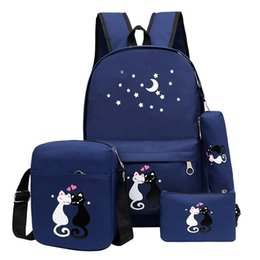 $enCountryForm.capitalKeyWord Australia - 4pcs backpack Children School Bags For Girls Boys Canvas SchoolBag Fashion Kids Backpack Teenager Rucksack Cute child