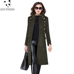 Wholesale plus size red wool coat resale online - Winter Women New Turn Down Collar Slim Wool Coat Autumn Fashion Mid long High Quality Double Breasted Plus Size Female Outerwear