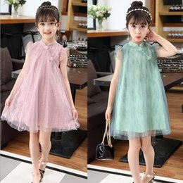 chinese clothes cheongsam Australia - Retail Girls dress Chinese cheongsam Embroidered Tulle Dress Straight baby girl dresses kids boutique Clothes Children designer Clothing