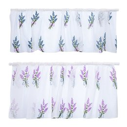 decorative kitchen hooks UK - Rod Embroidered Flower Short Curtain Semi-Transparent Cotton Decorative Floral Curtain for Kitchen Living Room Decoration