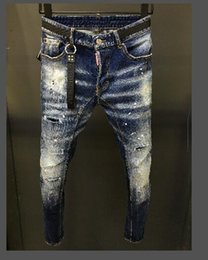 Latest Jeans Australia - 2019 latest listed skinny jeans hip hop rock motorcycle men's casual designer clothes distressed hollow tight denim riding men's pants