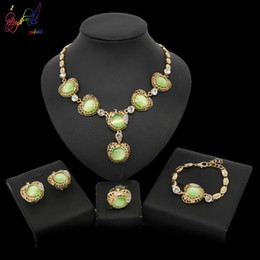 Wholesale Yulaili Top Quality Opal Jewelry Sets Necklace Bracelet Earrings Ring Sets For Women Party Wedding Daily Jewlery Christmas Gift