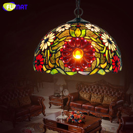 living rooms lights NZ - FUMAT Stained Glass Pendant Light Antique Art Glass Pendant Lamp For Living Room Flower Dragonfly Grape Shade Studio Lampshade