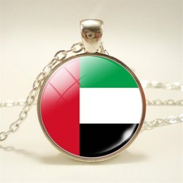pendant cabochon NZ - Vintage Time Gem Glass Cabochon United Arab Emirates National Flag World Cup Football Fan Pendant Necklace Women Men Long Chain Jewelry Gift