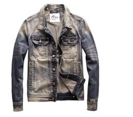 Vintage Motorcycles Jacket Australia - Men's Denim Jacket Biker Motorcycle Coat Vintage Blue Slim Fit Outwear Jackets High Quality Drop Shipping