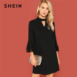 cef7b4d29c Long coLLar trim shirt online shopping - Shein Black Office Lady Solid Cut  Out Front Eyelash