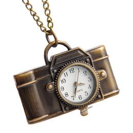 Necklaces Pendants Australia - Pocket Watch Quartz Vintage Camera Shape Creative Fashion Mini Chain Portable Party Charm Women Necklace Pendant Bronze Ornament