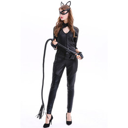 Wholesale Adult women s Halloween costumes in Europe and America role play catwoman costumes sexy patent leather PU mask cat dress