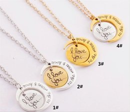 Pendant Backs Australia - I love you to the moon and back necklace round two pieces pendant moon necklace Christmas Gift Chain 2MM 18inch sun and moon necklace WCW019