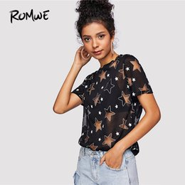 posh clothes NZ - Romwe Sheer Star Pattern Tee Posh Summer Black Short Sleeve Women Clothes Graphic T-shirt Casual Round Neck Tops Q190522