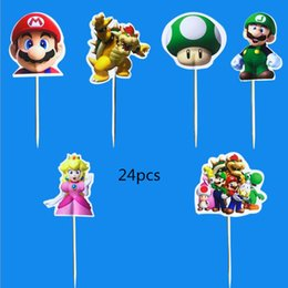 $enCountryForm.capitalKeyWord Australia - Happy Birthday Party Super Mario Theme Kids Boys Favors Cupcake Toppers With Sticks Decoration Baby Shower Cake Topper 24PCS