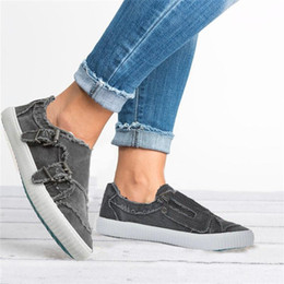 Fashionable Flat Shoes Laces NZ - HEFLASHOP Women Vulcanized Shoes Slip Canvas Shoes Spring On Flat Female Denim Fashionable Sneakers Casual Breathable Wholesale as182