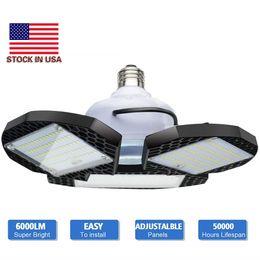 LED Garagelichten vervormbare LED Garage Plafondverlichting 60W 80W CRI 80 LED High Bay Lamp met 3 verstelbare panelen