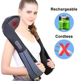 Опт NURSAL Аккумуляторный массажер для плечевого массажа Шиацу с подогревом для шеи, талии и спины, более длинными ремнями и аккумулятором, глубокое разминание