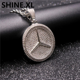 Wholesale micro cars resale online - Hip Hop White Gold Plated Iced Out Full Diamond Ben Car Key Pendant Micro Paved Zircon Round Shape Pendant Necklace