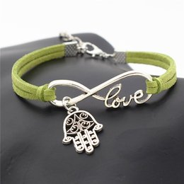 infinity symbol pendant wholesale NZ - Infinity Love Hamsa Symbol Evil Eye Fatima Hand Palm Pendant Bracelets Green Leather Suede Rope Friendship Multilayer Charm Diy Gift Jewelry