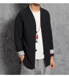 Chinese Kung Fu Jackets Canada - Traditional Chinese Tang jacket Winter Cotton linen v neck Cloth Tang Clothing Coat Wing chun Kung fu shirt thick cotton-jacket M3-690