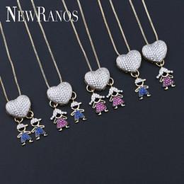 Necklaces Pendants Australia - Newranos Girl Boy Pendant Heart Necklace Pave Cubic Zirconia Family Love Kids Pendants Fr Women Jewelry Ngy0017482 J190615