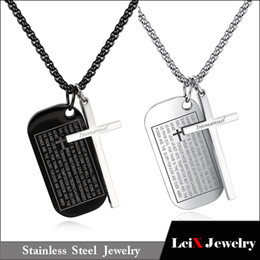 Stainless Rolo Chain Australia - Stainless Steel Dog Tags Cross Necklaces for Men Prayer Cross Necklace Military Rolo Chain 3mm 24 Inch