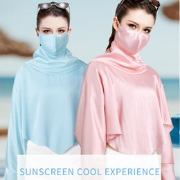 uv protection clothing NZ - Outdoor Mouth Face Mask Women Anti Dust UV Protection Neck Mask Real Silk Shawl Sunscreen Tops Clothing 6 Colors