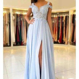 White lace summer Wedding dress online shopping - 2019 Cheap Baby Blue Lace Appliqued A line Bridesmaid Dress Elehant Chiffon Side Split Wedding Guest Gown Plus Size Prom Evening Party Dress