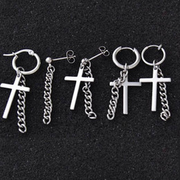 b25c02ea2 Cheap Stud Earrings 1 piece Silver Punk Rock Men Women Bigbang G-Dragon  Hoop Cross Drop Dangle Ear Studs GD Earrings Jewelry