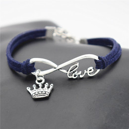 $enCountryForm.capitalKeyWord Australia - New High quality Infinity Love King Crown Pendant Fashion Jewelry Dark Navy Leather Suede Wristband Bracelet For Women Men Best Gift Pulsera
