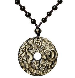 Carved Jade Red Pendants Australia - 48mm beautiful natural Gold obsidian hand carved Chinese dragon lucky charm pendant + black beaded necklace fashion jewelry