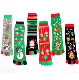 Wholesale stockings resale online - Christmas Toe Socks Styles Women Funny Cartoon D Printed Five Fingers Socks Snowman Santa Warm Mid calf Long Stocking OOA7202