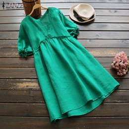ladies cotton sundresses NZ - Summer Dress Women Puff Sleeve Vestido 2019 Elegant Ruffles Party Long Top Oversized Female Lady Cotton Sundress