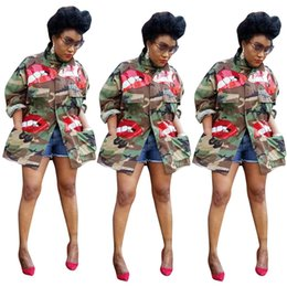 cape jacket wholesale UK - Women plus size Jacket sexy club lapel neck camouflage fashion Cardigan long sleeve Sequins outwear cape tops coat fall winter clothing 1353