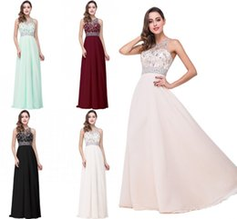 crystal top bridesmaid dress UK - vestido de festa longo Prom Dresses Crystals Beaded Top A Line Sheer Back Tulle Long Evening Gowns Bridesmaid Dress Cheap CPS254