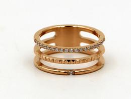 Micro Gears Australia - Hollow three-layer gear micro-drilled diamond ring ring Korean fashion tide female titanium steel belt diamond ring